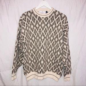 Bill Blass chunky boyfriend sweater size L crew